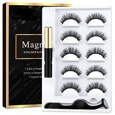 5 Paare magnetische Wimpern mit 1 Stück magnetischem Eyeliner und Pinzettenset