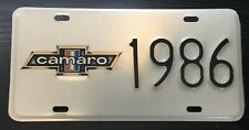 "1986 CAMARO Cream color license plate 6"" by 12"" decorative collector plate"