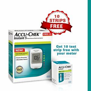 Accu-Chek Instant Blood Glucose Monitoring System with 10 Free Test Strips, fs