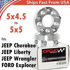 "Two 1.25"" 5x4.5 to 5x5 Wheel Spacer Adapters Jeep JK Wheels to TJ YJ MJ XJ SJ KK"