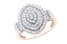 White Diamond Marquise Cluster Ring In 14k Rose Gold Over Sterling Silver -IGI-