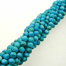 "Turquoise Faceted Rondelle Beads 15"" Strand Semi Precious Gemstone"