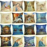 Christmas  Madonna Maria Jesus Pillow Cotton Linen Case Cushion Cover Home Decor