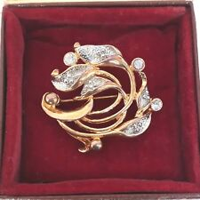 VINTAGE JEWELLERY SIGNED CALLA LILY SPARKLING CLEAR GLASS DIAMANTE FLOWER BROOCH