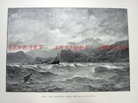 Spain Granada SEA COAST SHIPWRECK Storm SIERRA NEVADA ~ 1890 Art Print Engraving