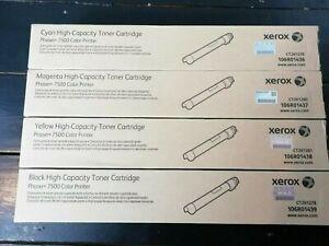 Genuine Xerox Phaser 7500 CMYK High Cap Toner Set 106R01436/7/8/9 New VAT inc