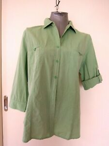 SPORTSCRAFT  Women's BLOUSE  *Size 16    ~ELUC  Light Green  ROLL SLEEVES