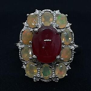 Genuine 5.65ctw Ruby, Opal & Diamond Cut White Sapphire 925 Sterling Silver Ring