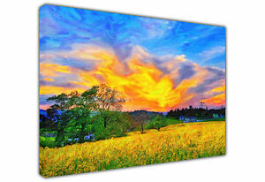 SUNSET OVER YELLOW FIELD LANDSCAPE LARGE CANVAS OIL PAINTING REPRINT / PRINTS