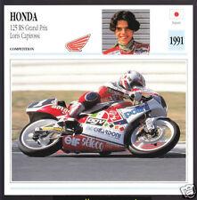 1991 Honda 125cc RS Grand Prix Loris Capirossi Race Motorcycle Photo Spec Card
