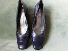 VAN DAL - 'ALAVA'  Womens Navy Leather Wedge Shoes Size UK7D  (preloved)