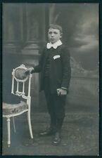 Edwardian boy Vintage Private Postcard 1st Communion Real photo chair bible