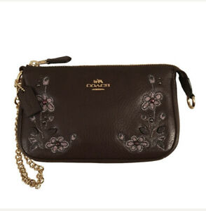 COACH Floral Embroidered Large Wristlet Leather Clutch $195 F11882