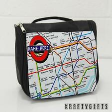 Personalised London rail Map Hanging Wash Toiletry Travel Bag Case ST358