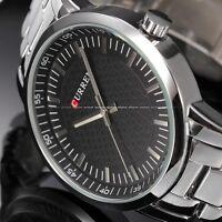 New Men's Vintage CURREN Sport Military Black Stainless Steel Quartz Wrist Watch