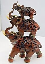 """Stacked Elephant Trio Statue Antiqued Resin Wood Finish Luck Prosperity 11"""" Tall"""