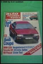 AMS Auto Motor Sport 7/88 * Audi V8 Porsche 911 VW Passat BMW 520i