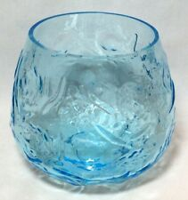 "Vtg Rose Bowl Vase Aquamarine Clear Blue Glass Abstract Roses 5.75"" Tall Euc"
