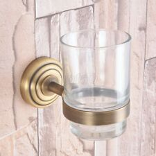 Antique Brass Wall Mounted Toothbrush Holder with Single Glass Cup Gba747