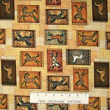 Southwest Fabric - Cave Painting Horses on Mustard Dan Morris - Springs 17""