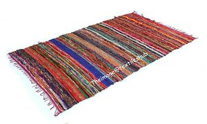 Indian Handmade Chindi Rug Cotton Floor Yoga Mat Area Rug Mat Carpet 4x6 Ft UK