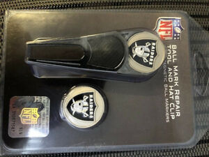 NFL Raiders GOLF BALL MARKER DIVOT REPAIR TOOL AND HAT CLIP NEW