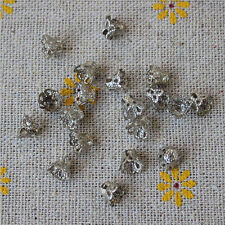 100 Pcs Filigree Flower Cup Shape 7mm Silver Bead Caps for Jewelry Making P*CA