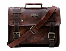 Messenger bag leather men's shoulder laptop women satchel briefcase vintage bags