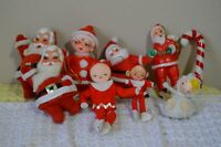 Felt Plastic Made in Japan Vintage Christmas Tree Ornaments Santa Elves Mrs. 9