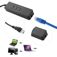 3 Port USB 3.0 To RJ45 Hub 10/100/1000 Mbps Ethernet Lan Network Adapter