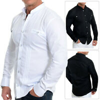 Mens Grandad Collar Shirt Casual Formal Cotton Square Buttons Stripes Slim Fit
