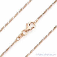 1mm Italy 925 Sterling Silver GP 14k Rose Gold Snake Link Italian Chain Necklace