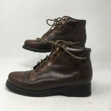 Earth Womens Ankle Boots Brown Leather Lace Up Cap Toe 8