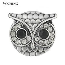 20PCS/Lot Owl Metal Snap Button Inlaid Crystal Fit 18mm Jewelry Vn-255*20