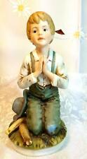 Rr Roman Ceramic Figure, Farm Boy Kneeling in Prayer circa 1979