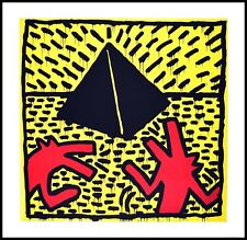 Keith Haring Untitled red dogs with pyramid Poster Kunstdruck im Rahmen 70x70cm
