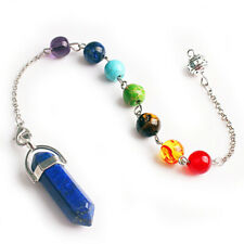 Pendant Natural Gemstone Lapis Lazuli Crystal 7 Chakra Pendulum Bead Handmade