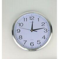 30cm Round Wall Quartz Analogue Clock - Silver