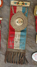 old UMWA Lee Park PA union badge & heavy pendant-United We Stand Divided We Fall