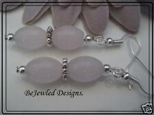 Dainty Oval Glass Dusty Pink and Silver Earrings~ you choose Pierced or  Clip-on