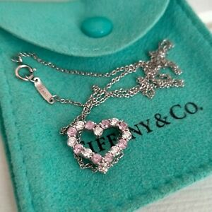 Tiffany And Co. Heart's Diamond Pink Sapphire Necklace