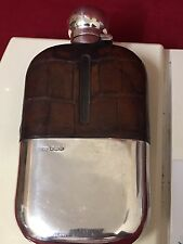 Elegant Large 18cm Antique Silver And Glass Hip Flask With Top Bound 1918 JD&S