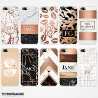 ROSE GOLD & MARBLE INITIALS / NAME PERSONALISED HARD CASE COVER FOR APPLE IPHONE