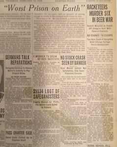 Vintage Newspaper February 14, 1929 - St Valentine's Day Massacre
