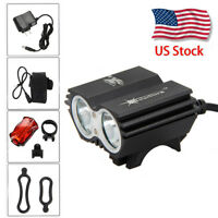 8000Lumen 2x XM-L T6  LED Cycling Bicycle Light Bike Lamp Head lamp Headlight