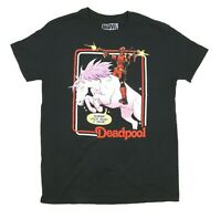 """New Marvel Deadpool Black T-Shirt Riding Unicorn """"WHEE LOOK WHAT I HAVE Size: L"""
