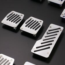BLACK RUBBER GRIP ALLOY PEDAL SET - ALUMINIUM SPORTS CAR FOOT PEDALS - 3 PCE KIT