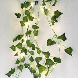 Leaf Ivy String Lights Vine Garland Wreath Hanging Fairy Home Party Garden Decor
