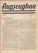 BERLIN, Beilage Zeitschrift 15.02.1937, Flug und Werft DAF 76 Flugzeugbau