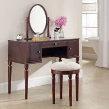 3 Drawers Makeup Vanity Dressing Table With Mirror Classic Bathroom Furniutre Cherry
